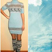 Одежда handmade. Livemaster - original item Knitted tunic dress with Norwegian ornament. Handmade.