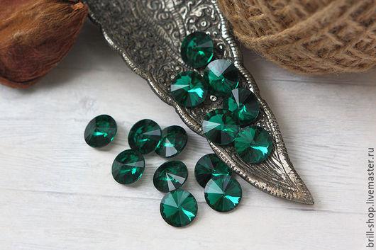 Для украшений ручной работы. Ярмарка Мастеров - ручная работа. Купить Риволи 14 мм  Emerald (Изумруд). Handmade.