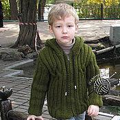 Работы для детей, ручной работы. Ярмарка Мастеров - ручная работа Куртка для мальчика с капюшоном крупной вязки. Handmade.
