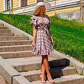 Одежда ручной работы. Ярмарка Мастеров - ручная работа Платье в горох ! Мини длина, платье на запахе. Handmade.
