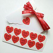 Материалы для творчества ручной работы. Ярмарка Мастеров - ручная работа Наклейки сердечки With Love / 10 шт. Handmade.
