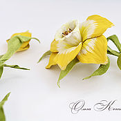 Украшения handmade. Livemaster - original item Floral necklace leather Yellow daffodils Gentle spring. Handmade.