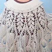 Одежда handmade. Livemaster - original item Poncho puffer knitted a-Line women`s Tneck white 100% goat down. Handmade.