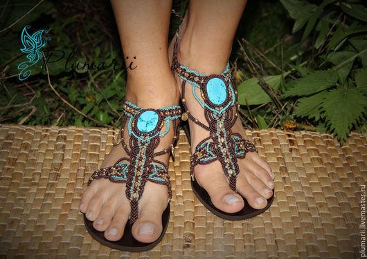 Обувь ручной работы. Ярмарка Мастеров - ручная работа. Купить Magiс shoes - макраме бохо обувь с бирюзой. Handmade. сандалии