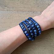"""Украшения ручной работы. Ярмарка Мастеров - ручная работа Синий браслет в стиле Чан лу из содалита """"Deep blue"""". Handmade."""