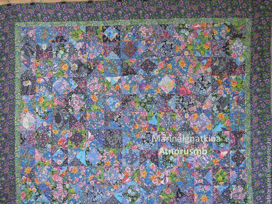 Текстиль, ковры ручной работы. Ярмарка Мастеров - ручная работа. Купить покрывало лоскутное. Handmade. Разноцветный, русский, интерьерное украшение