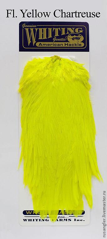 Перья Whiting American Rooster Saddle Fl. Yellow Chartreuse (41802244), Перья, Москва, Фото №1