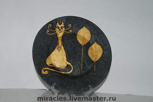 Тарелки ручной работы. Ярмарка Мастеров - ручная работа. Купить Золотой кот. Handmade. Кот, счастье, эксклюзив, радость, подарок