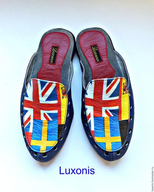 """Обувь ручной работы. Ярмарка Мастеров - ручная работа. Купить Кожаная домашняя обувь """"Флаги"""". Handmade. Тёмно-синий, тапочки"""