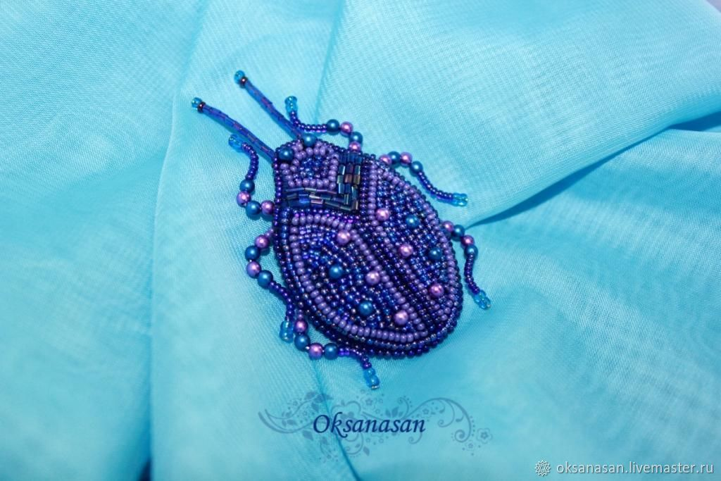 Brooch beaded Blue beetle, Brooches, Moscow,  Фото №1