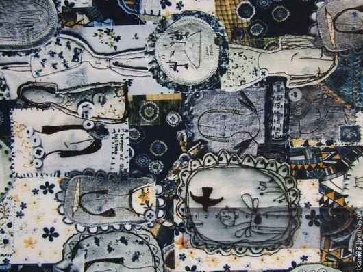 Шитье ручной работы. Ярмарка Мастеров - ручная работа. Купить Трикотаж Барби арт.87 ТЗ-7 (Корея) принт в синих тонах. Handmade.