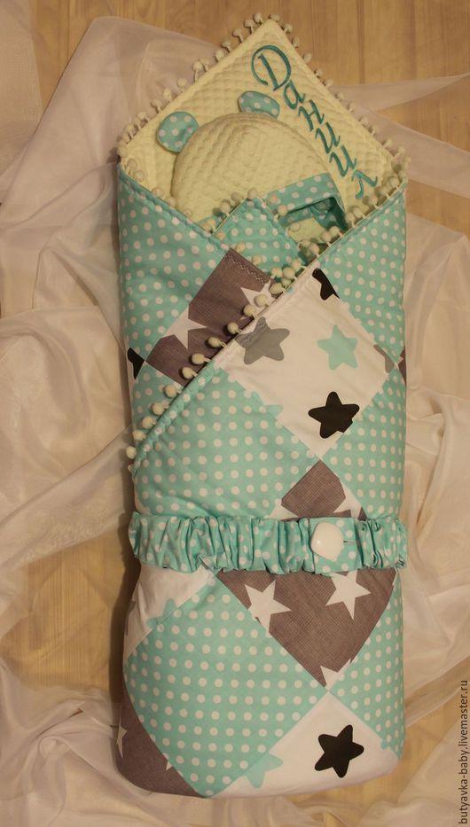 Для новорожденных, ручной работы. Ярмарка Мастеров - ручная работа. Купить Одеяло с шапочкой на выписку. Handmade. Бирюзовый, конверт для новорожденных