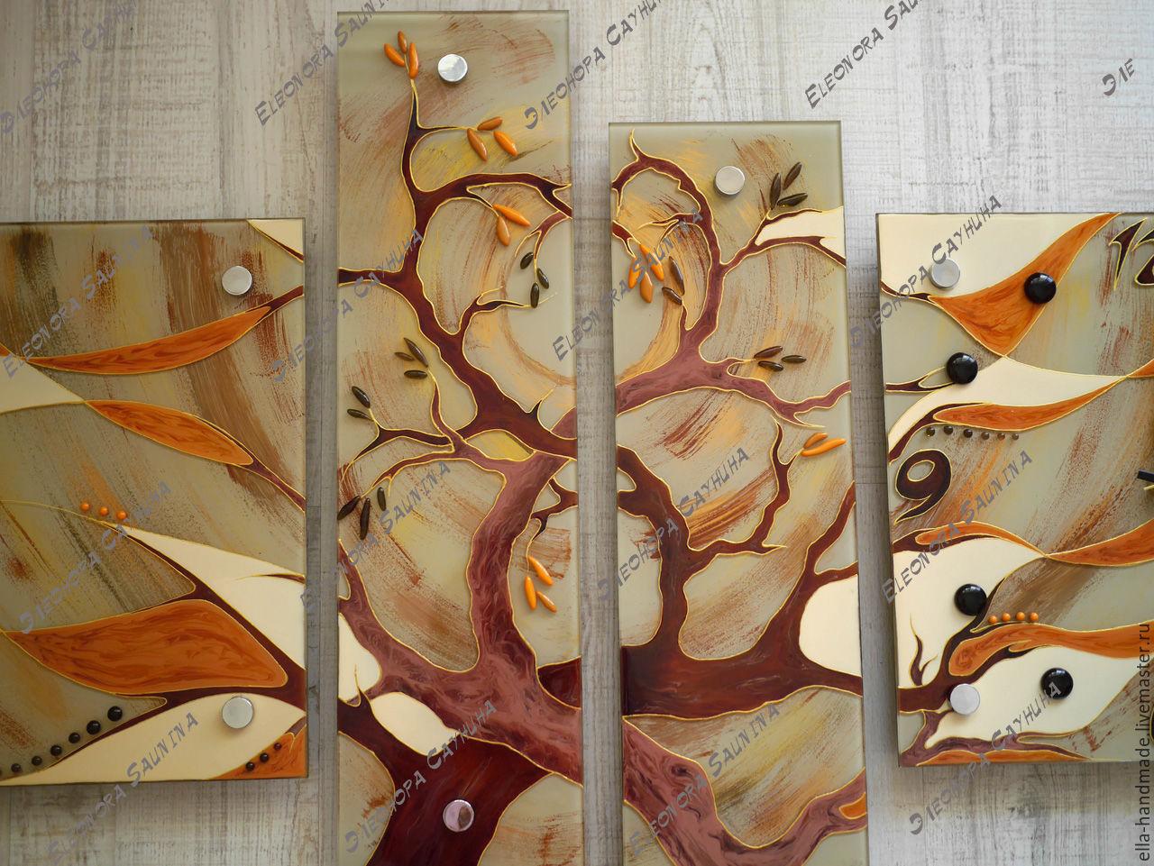 """Панно стеклянное с часами сегментированное """"Два дерева"""", Картины, Уфа, Фото №1"""