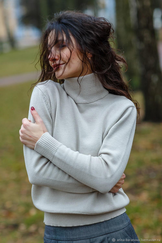 Merino wool turtleneck basic sweater with high Angel neckline, Turtleneck Sweaters, Tver,  Фото №1