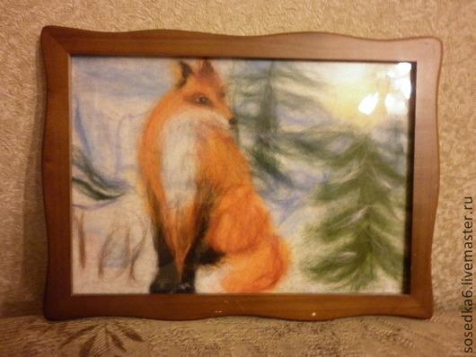 """Животные ручной работы. Ярмарка Мастеров - ручная работа. Купить картина шерстью """" Рыжий Лис """". Handmade."""