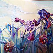 Картины и панно ручной работы. Ярмарка Мастеров - ручная работа Картина Ирисы. Handmade.
