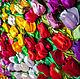 """Картины цветов ручной работы. Заказать Картина из атласных лент """"Тюльпаны"""". Мария Людвиг(Гильдебрант). Ярмарка Мастеров. Тюльпаны, картина с цветами"""
