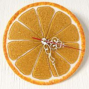 Для дома и интерьера ручной работы. Ярмарка Мастеров - ручная работа Часы из стекла Апельсинчик. Handmade.