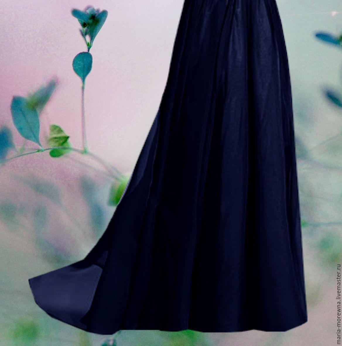 Шифоновая голубая юбка