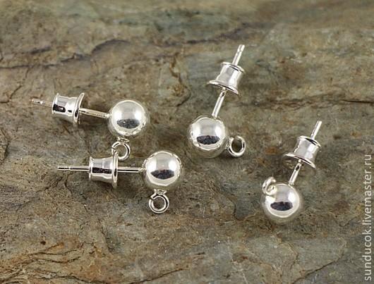 Для украшений ручной работы. Ярмарка Мастеров - ручная работа. Купить 338С Пуссеты 6 мм из серебра 925 пробы. Handmade.