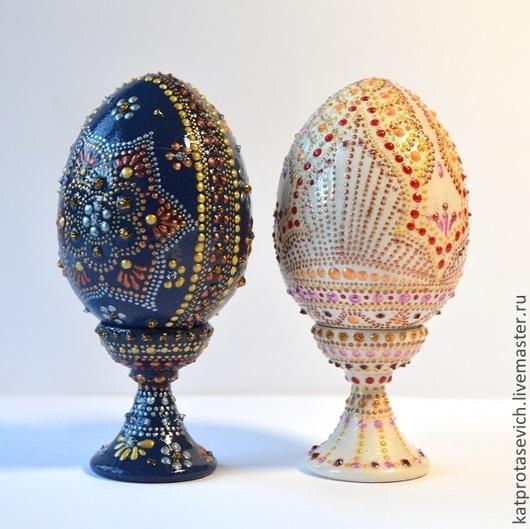 Яйца ручной работы. Ярмарка Мастеров - ручная работа. Купить Пасхальный сувенир. Handmade. Точечная роспись, яйцо на подставке