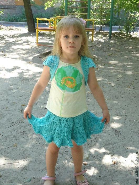 Одежда для девочек, ручной работы. Ярмарка Мастеров - ручная работа. Купить костюм для девочки Бирюзовый ажур. Handmade. Бирюзовый