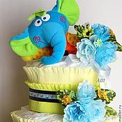 """Подарки к праздникам ручной работы. Ярмарка Мастеров - ручная работа Торт из памперсов """"Слонёнок"""". Handmade."""