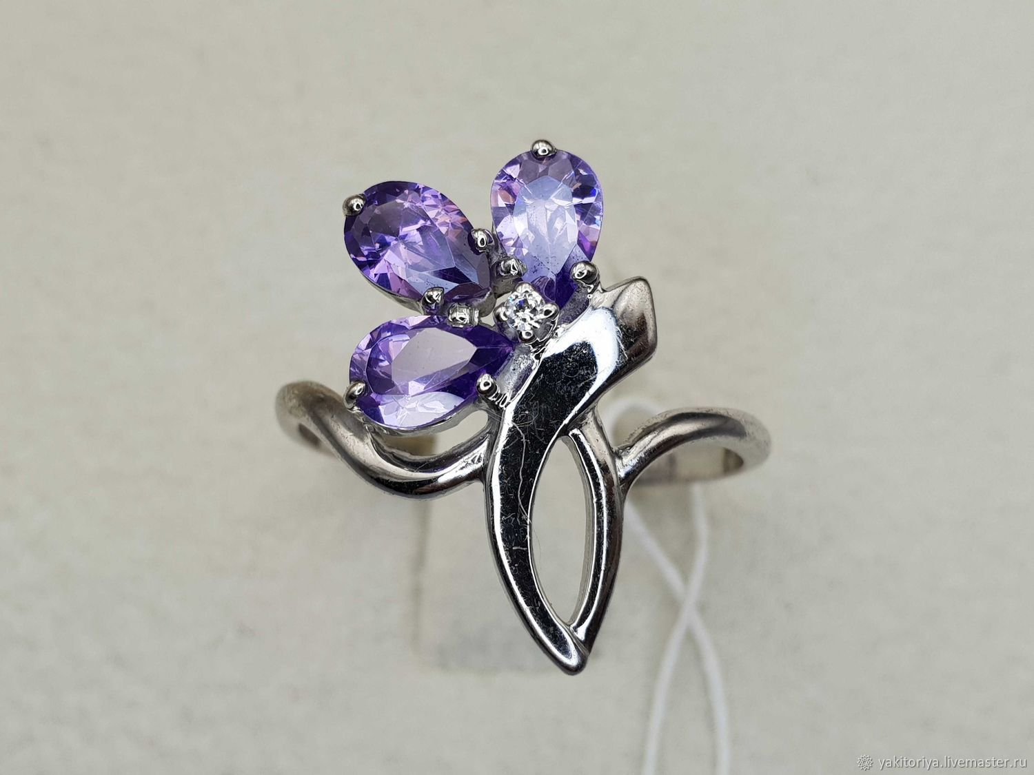 Silver ring with amethysts and cubic zirconia, Rings, Moscow,  Фото №1
