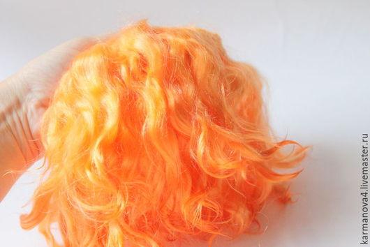 Тресс для кукольных волос из козочки ангорской породы ручного производства Волосы для кукол (абрикос, персиковый цвет) Локоны Кудри для кукол Волосы для кукол купить Handmade Ярмарка Мастеров
