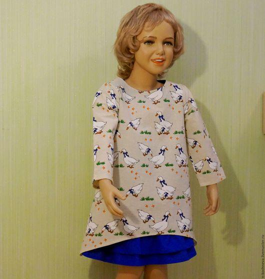 Одежда для девочек, ручной работы. Ярмарка Мастеров - ручная работа. Купить Детское платье-туника и юбка. Handmade. Бежевый, гуси