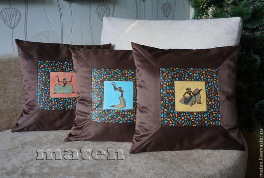 Подушки ручной работы`Африка`(комплект),роспись акрилом по ткани.Купить подушки ручной работы.Автор-Maten.Ярмарка мастеров.