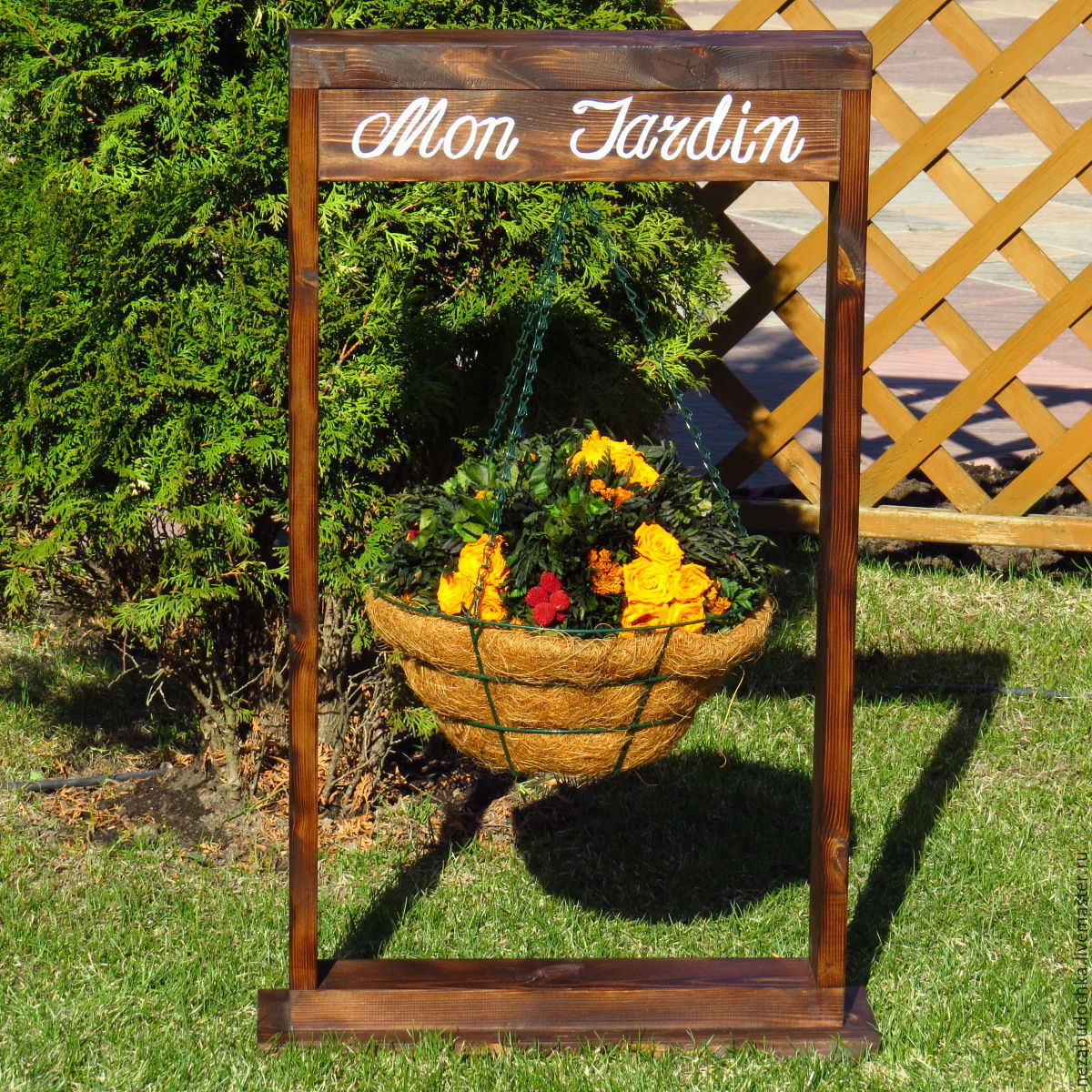 buy frame-stand with hanging baskets - brown, stand for flowers