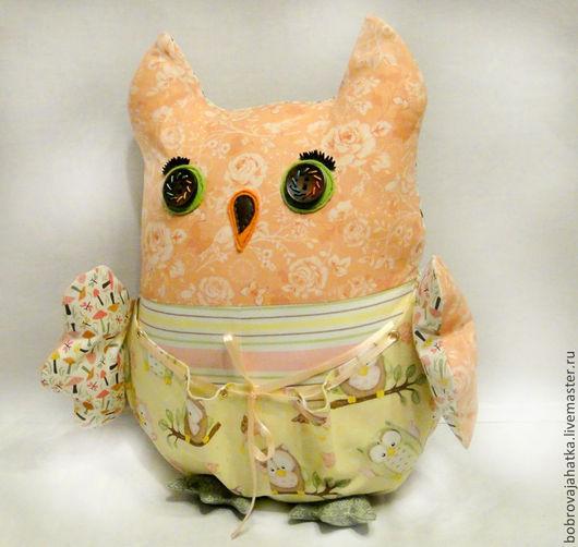 Детская ручной работы. Ярмарка Мастеров - ручная работа. Купить Именная детская подушка игрушка с карманом Сова Подарок мальчику. Handmade.