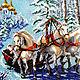 Животные ручной работы. Заказать Тройка белых лошадей 36,5 х 46,5. Картины из бисера (biserrussia). Ярмарка Мастеров.