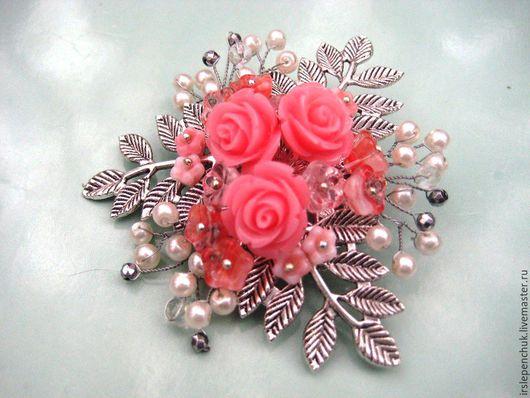 """Броши ручной работы. Ярмарка Мастеров - ручная работа. Купить брошь """"Розовые мечты"""". Handmade. Розовый, подарок невесте"""