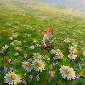 Картины и панно handmade. Livemaster - original item Painting In the meadow of Daisies and a girl oil on Canvas. Handmade.