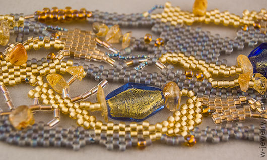 Браслеты ручной работы. Ярмарка Мастеров - ручная работа. Купить комплект украшений Приют Беззаботной (браслет+серьги, жёлтый, серый). Handmade.
