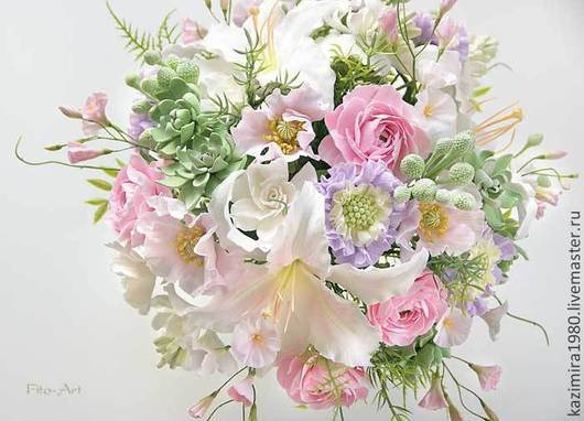 Цветы ручной работы. Ярмарка Мастеров - ручная работа. Купить Букет с нежно-розовыми цветами. Handmade. Бледно-розовый, Декор