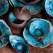 Посуда ручной работы. Ярмарка Мастеров - ручная работа сервиз шоколад и бирюза. Handmade.