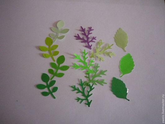 Веточки с листьями - 3*3,8 см,  Еловая веточка - 3*4 см,   Размер листочка- 2*3,8 см,