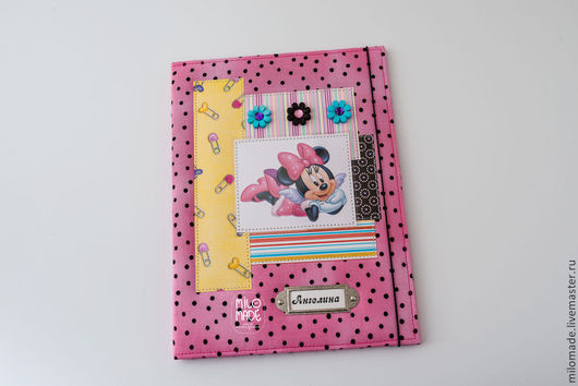 """Папки для бумаг ручной работы. Ярмарка Мастеров - ручная работа. Купить Папка для свидетельства о рождении """"Минни"""". Handmade. Розовый, минни"""