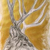 Картины и панно ручной работы. Ярмарка Мастеров - ручная работа Графика, Олень, карандаш. Handmade.