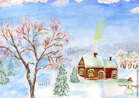 """Пейзаж ручной работы. Ярмарка Мастеров - ручная работа. Купить картина """"Домик в зимней сказке"""" (белый, коричневый). Handmade. Пейзаж"""