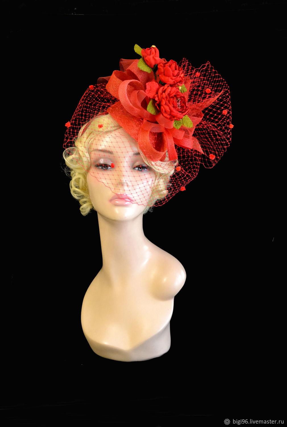 Hat with a veil ' Red roses', Hats1, Moscow,  Фото №1