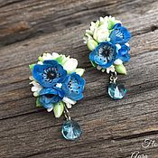 Украшения handmade. Livemaster - original item Kit blue anemones,white roses and Swarovski crystals. Handmade.