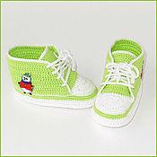 Работы для детей, ручной работы. Ярмарка Мастеров - ручная работа Пинетки-кеды светло-зеленые. Handmade.