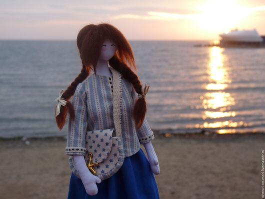 Коллекционные куклы ручной работы. Ярмарка Мастеров - ручная работа. Купить Сион. Девочка, которая любит море. Текстильная кукла тряпиенс.. Handmade.