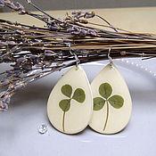 Украшения handmade. Livemaster - original item Earrings Clover Shamrock Drops with Real Leaf Clover Resin. Handmade.