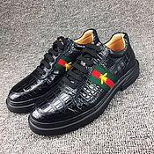 Обувь ручной работы handmade. Livemaster - original item Men`s boots, crocodile leather, spring/autumn model, black color.. Handmade.