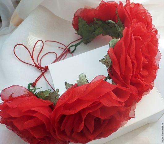 """Диадемы, обручи ручной работы. Ярмарка Мастеров - ручная работа. Купить Ободок с розами из ткани """". Handmade. Ярко-красный"""